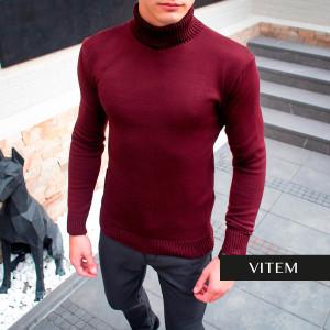 Чоловічий бордовий светр-гольф під горло