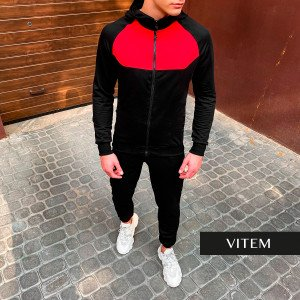 Чоловіча чорно-червона спортивна кофта на блискавці