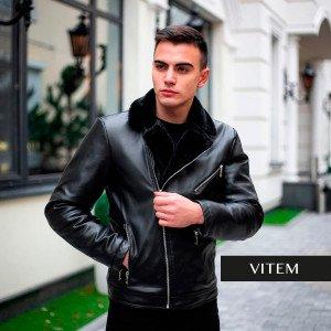 Шкіряна чорна чоловіча зимова куртка
