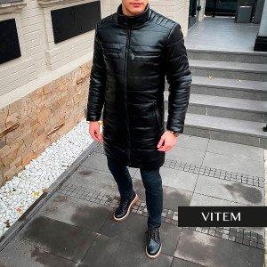 Чорна шкіряна чоловіча куртка-пальто