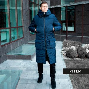 Довга зимова темно-синя чоловіча куртка