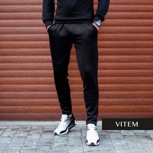 Чоловічі чорні спортивні штани синтетика