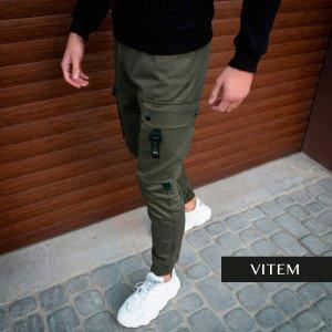 Чоловічі хакі штани з стрейч-котону